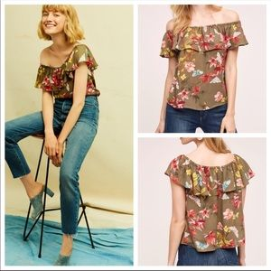 Athropologie Maeve Floral Off The Shoulder Top